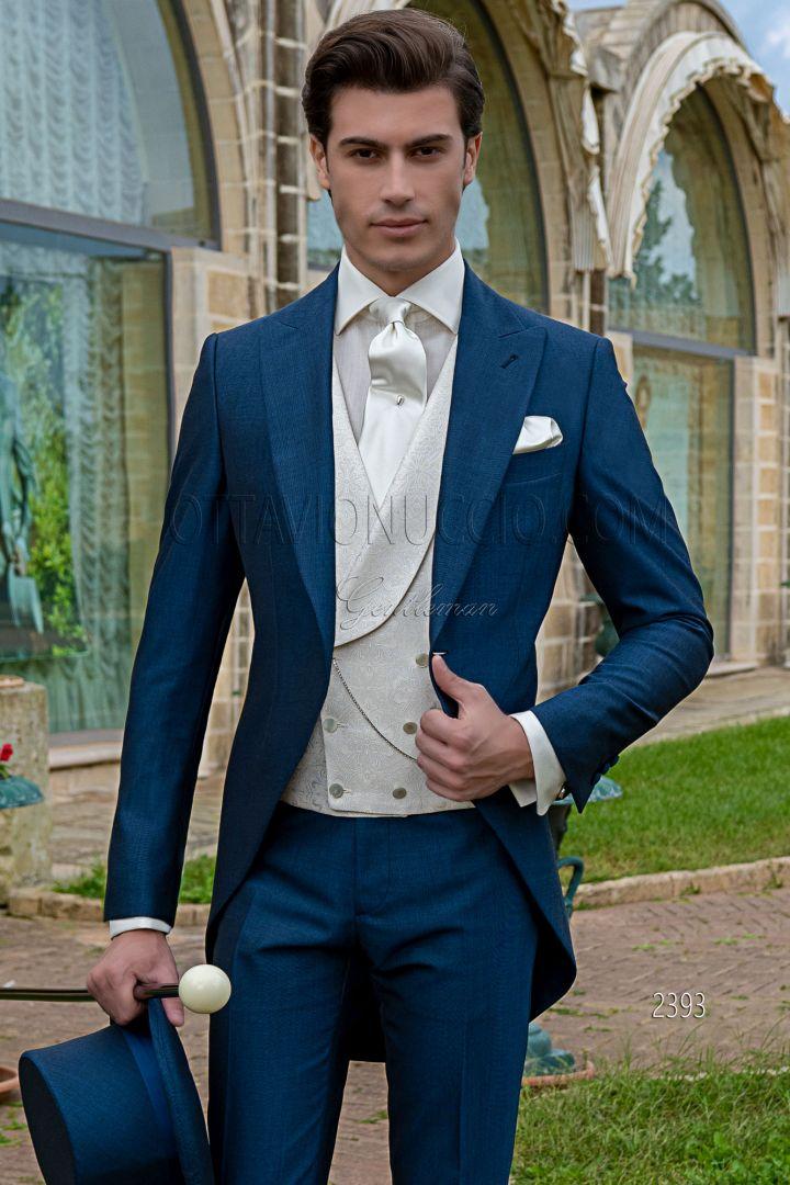 Abito tight moderno blu royal da cerimonia uomo