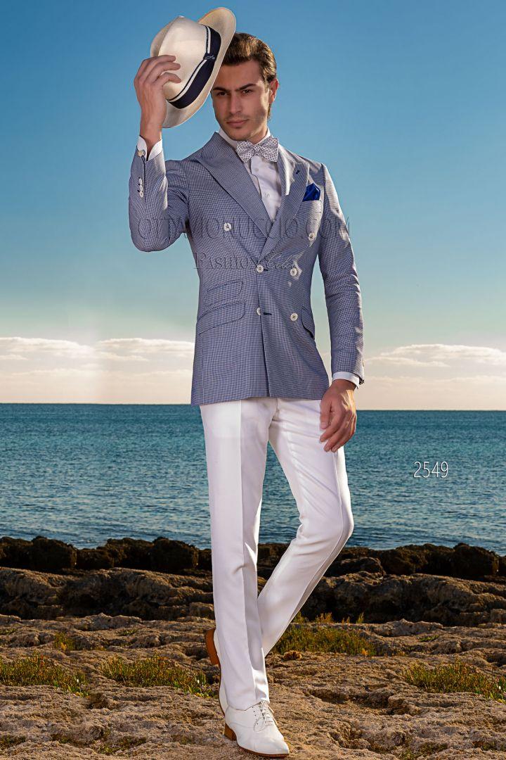 Giacca moda uomo doppiopetto Pied-de-Poule blu con pantalone bianco