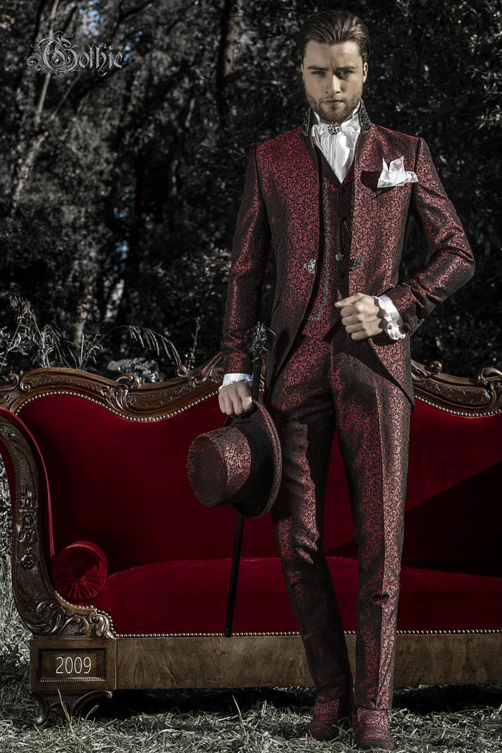 Red brocade prince italian wedding suit for men Gothic style