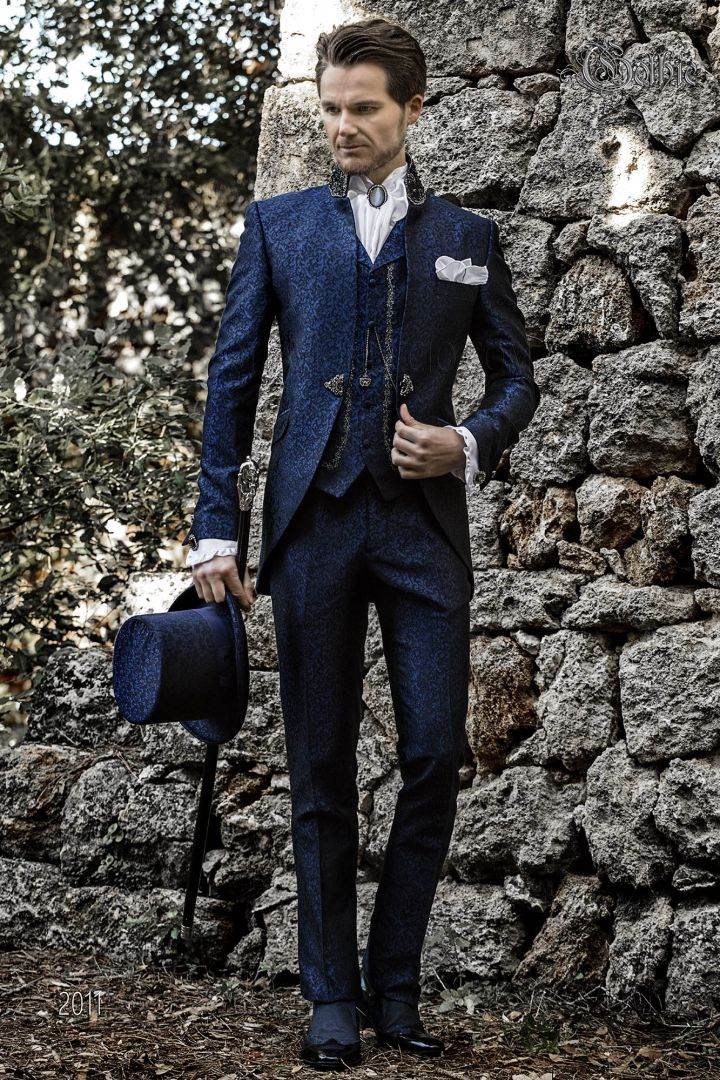 Bespoke blue gothic wedding groom suit with crystal trimmings