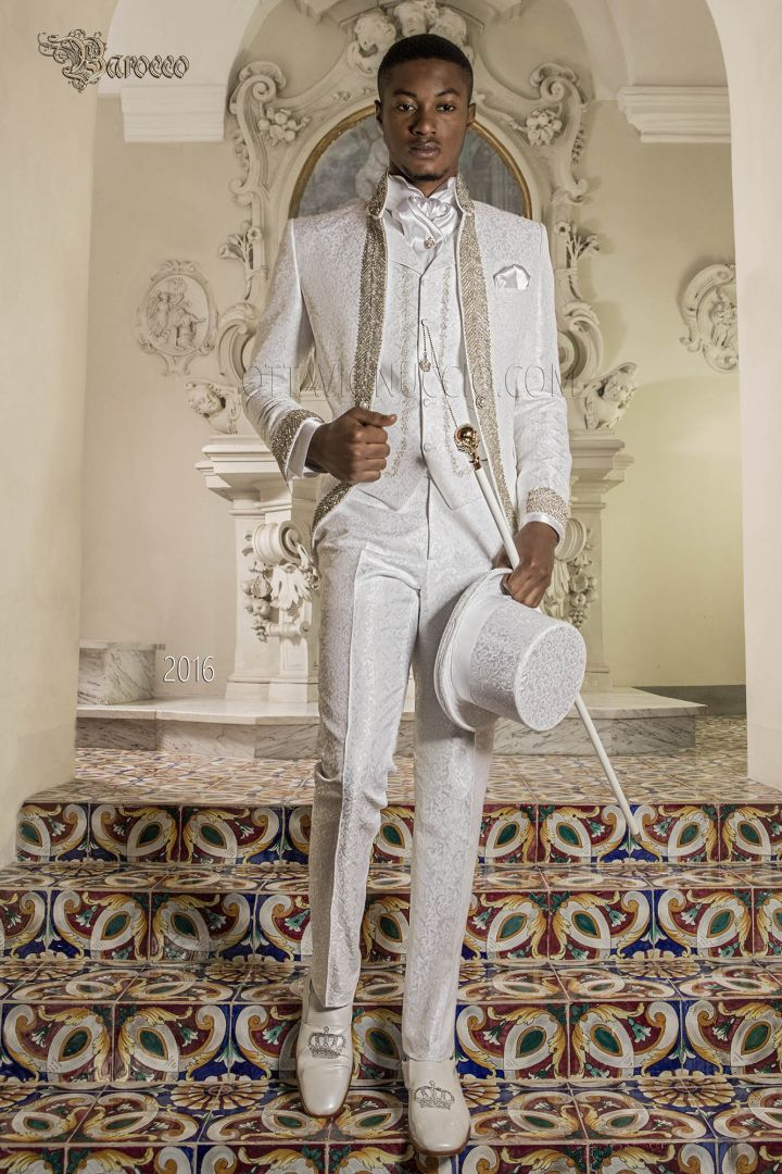 Luxury italian baroque white suit with crystal trimmings