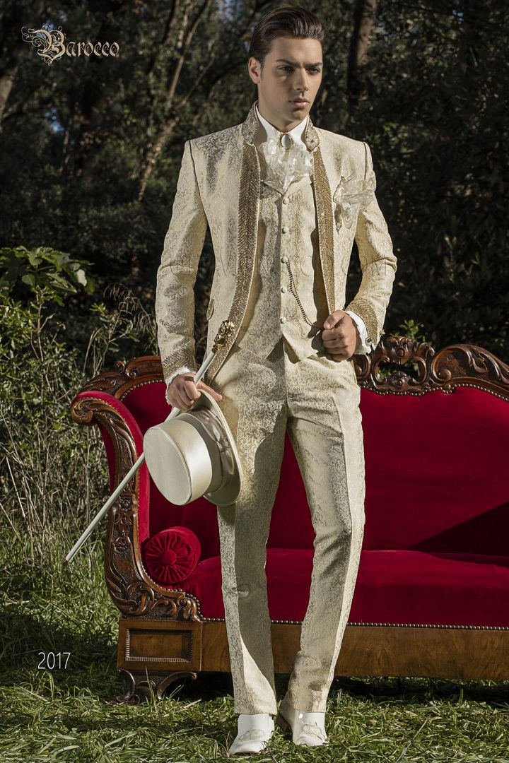 Ivory luxury brocade suit in baroque style with gold rhinestone