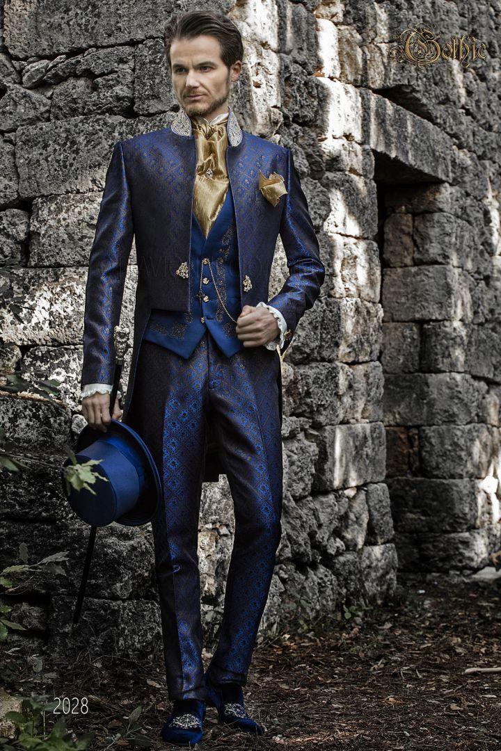 Gothic blau & gold brokat Frack mit Kristall-Strasssteinen