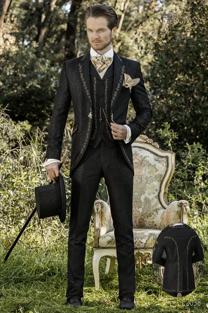 Black suit in brocade fabric with gold embroidery