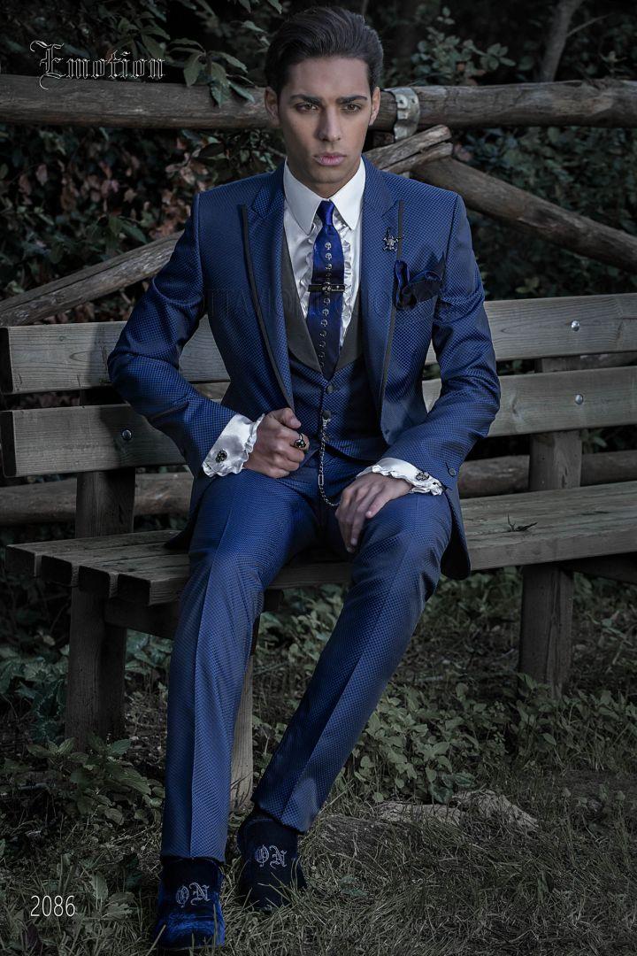 Costume italien homme bleu électrique de mariage hipster