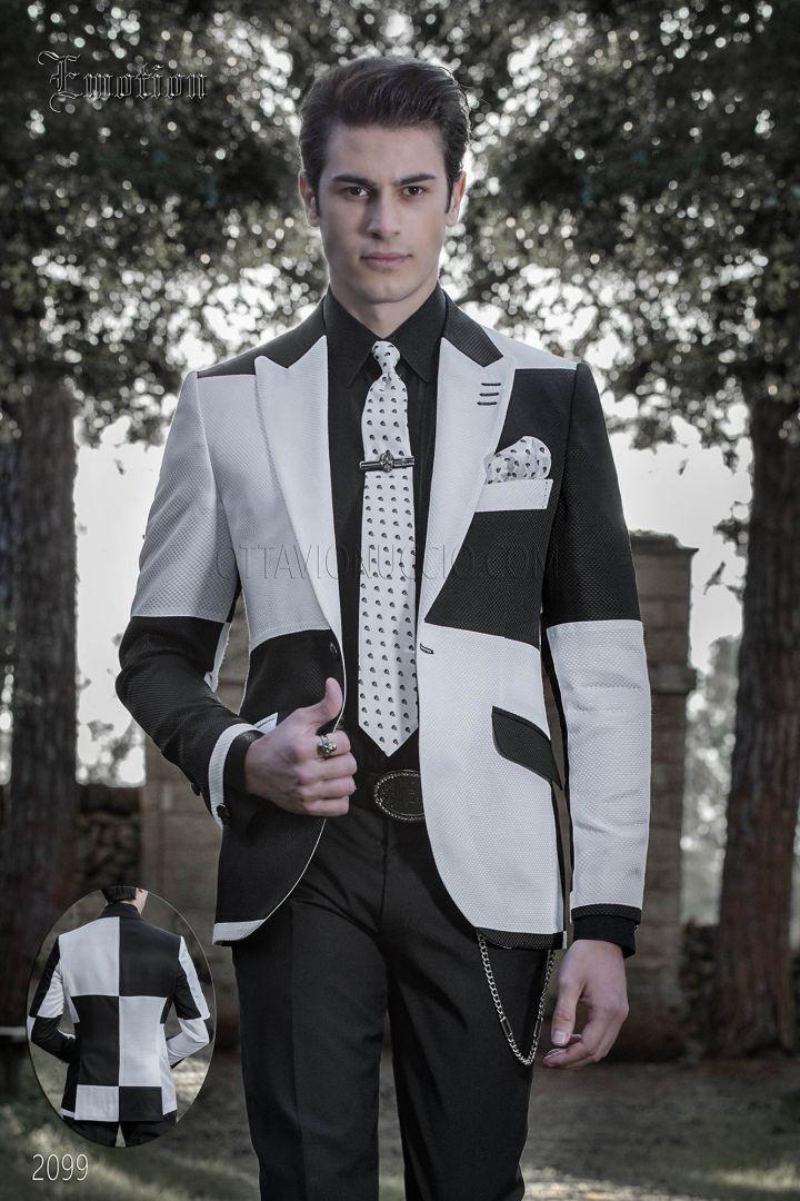 Costume homme hipster original blanc et noir