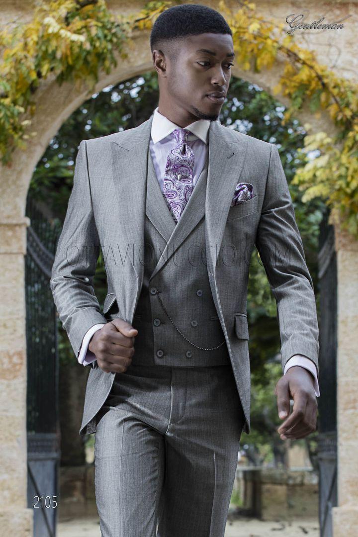Grey italian dress suit with peak lapel and ticket pocket