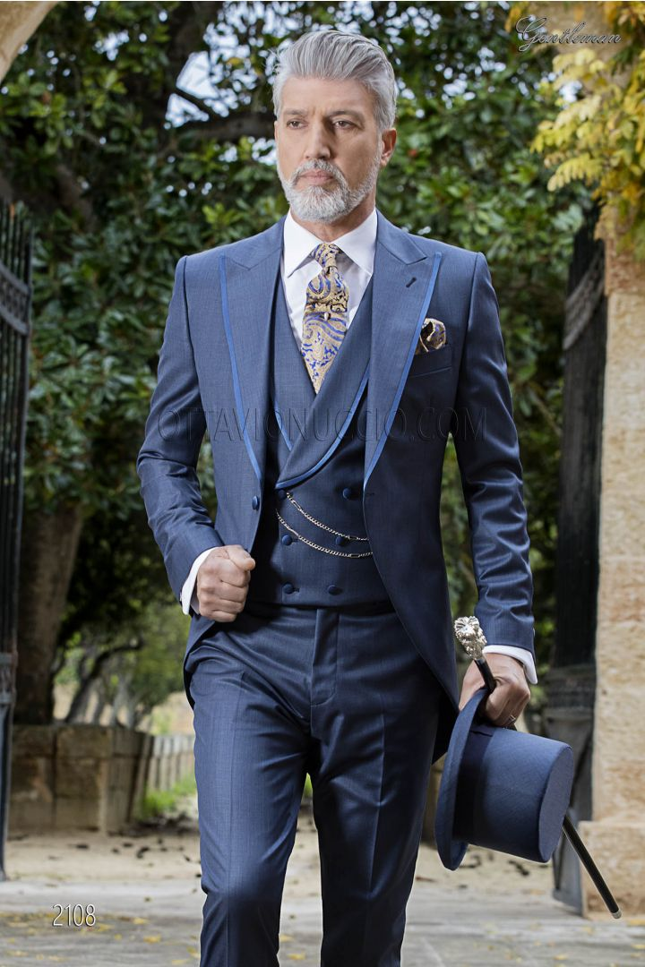 High fashion morning suit in blue navy wool blend, satin lapel profiles