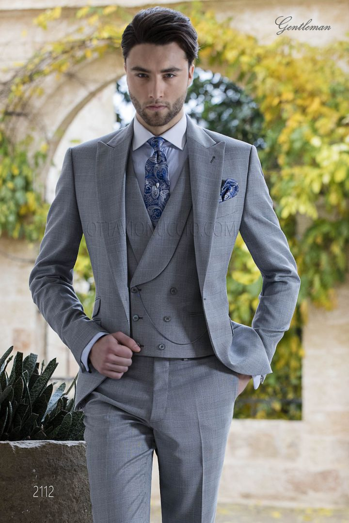 Groomsmen suit in grey prince of wales for morning wedding