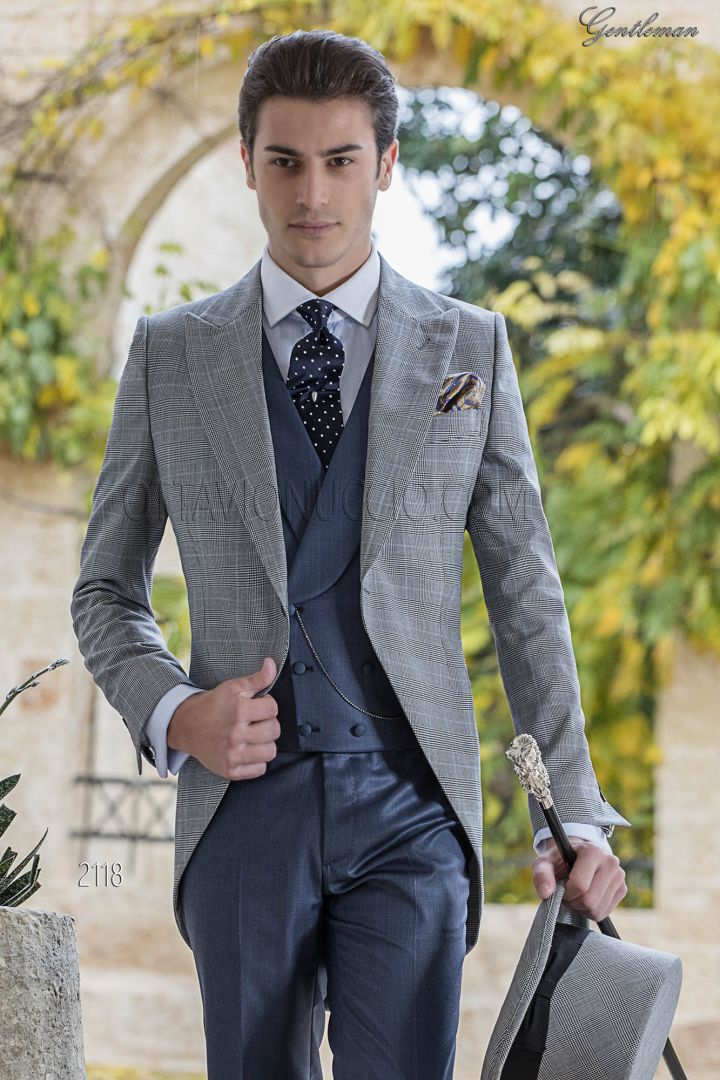 Prince of Wales morning suit in wool blend with blue vest and pants