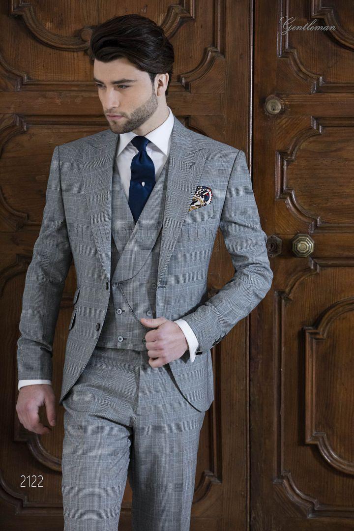 Men suit in grey Prince of Wales wool blend
