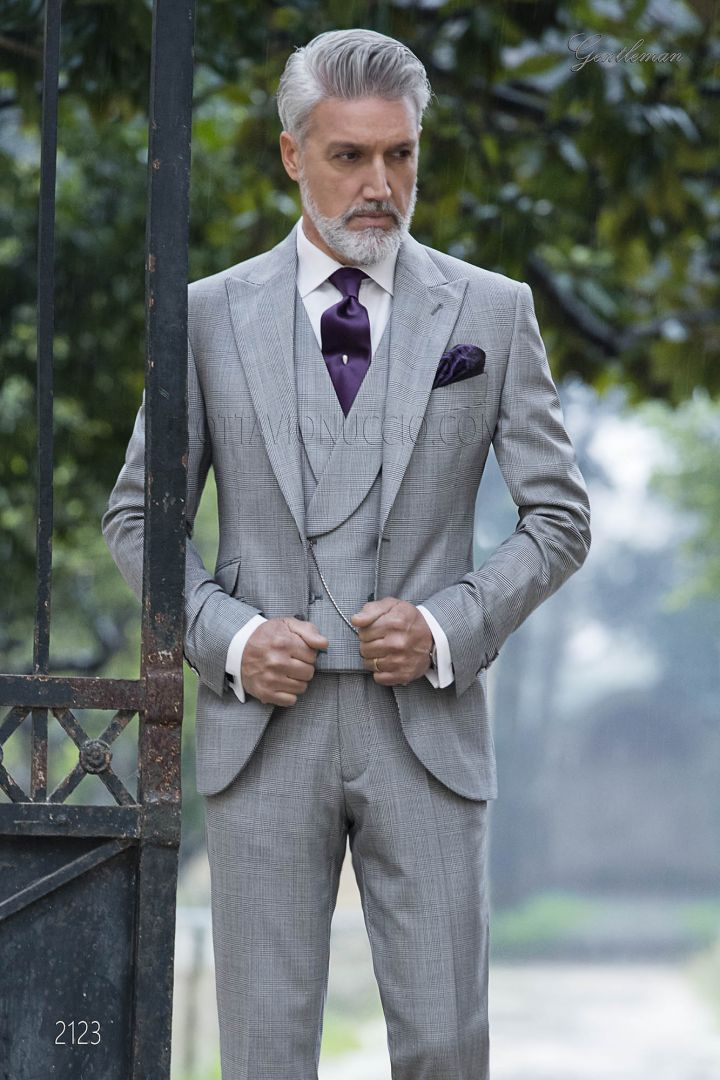 Groomsmen suit with double breasted vest in grey Prince of Wales
