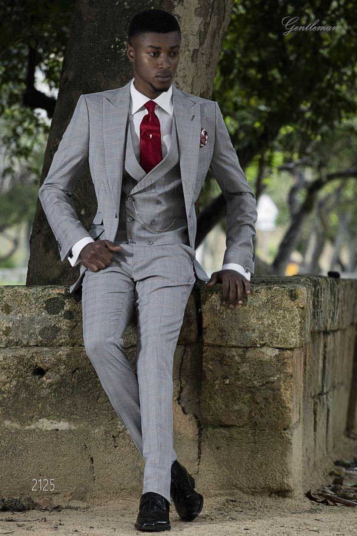 Italian bespoke morning suit in Prince of Wales with peak lapel