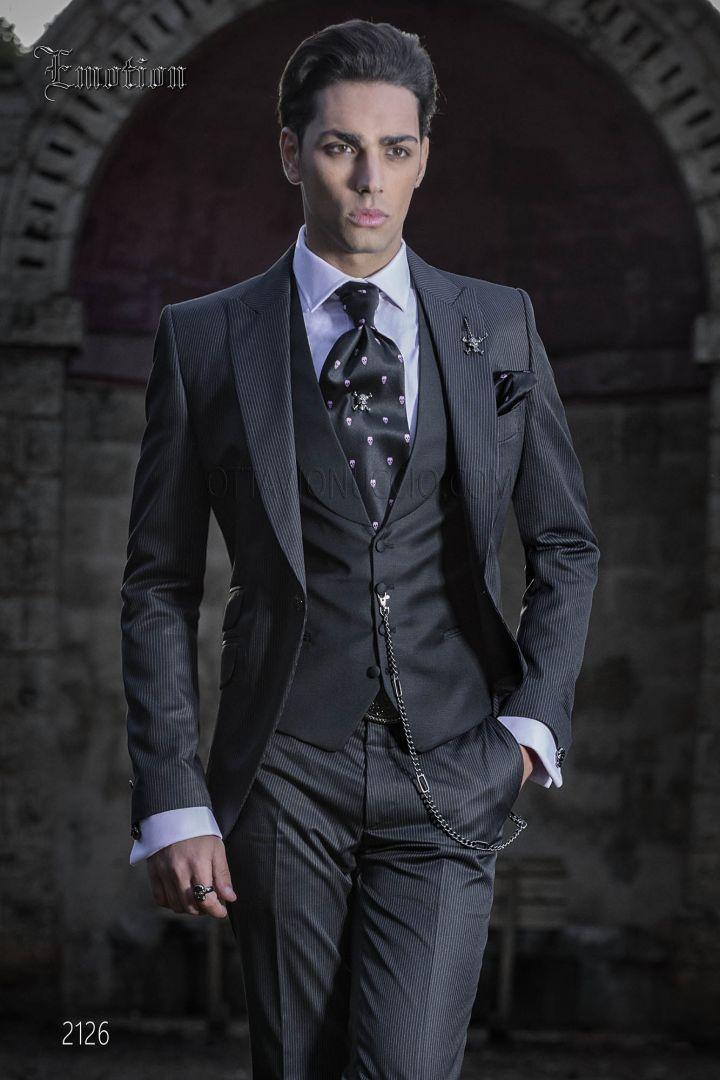 Costume italien vintage homme rayé noir