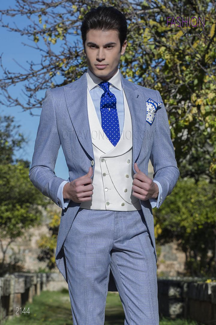 Morning suit in blue Prince of Wales fabric with white vest