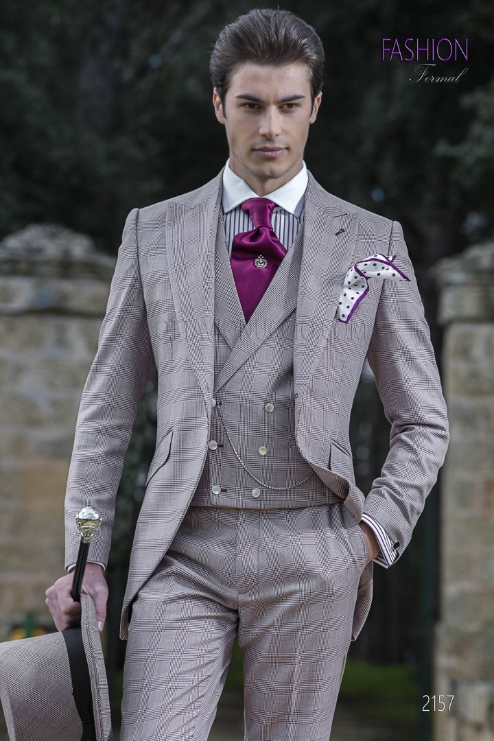 Burgundy bespoke morning suit in Prince of Wales fabric
