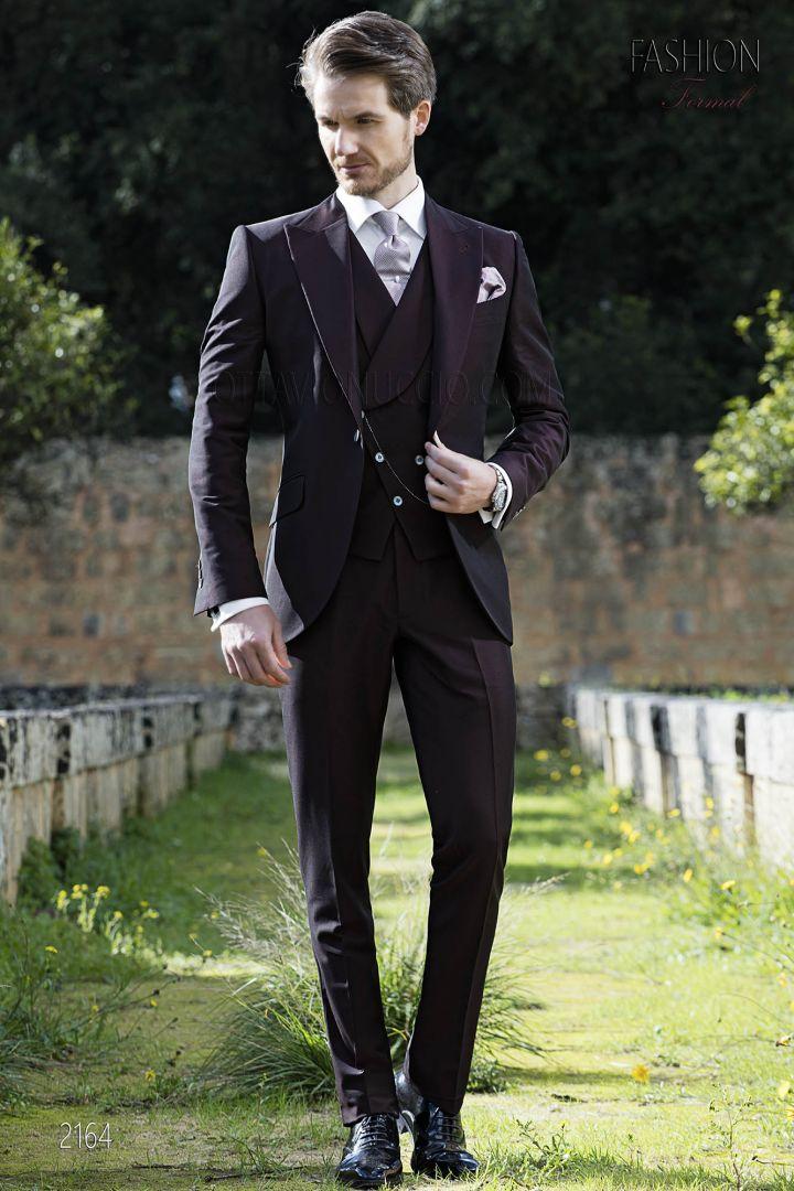Italian groom suit for men in burgundy wool mohair blend