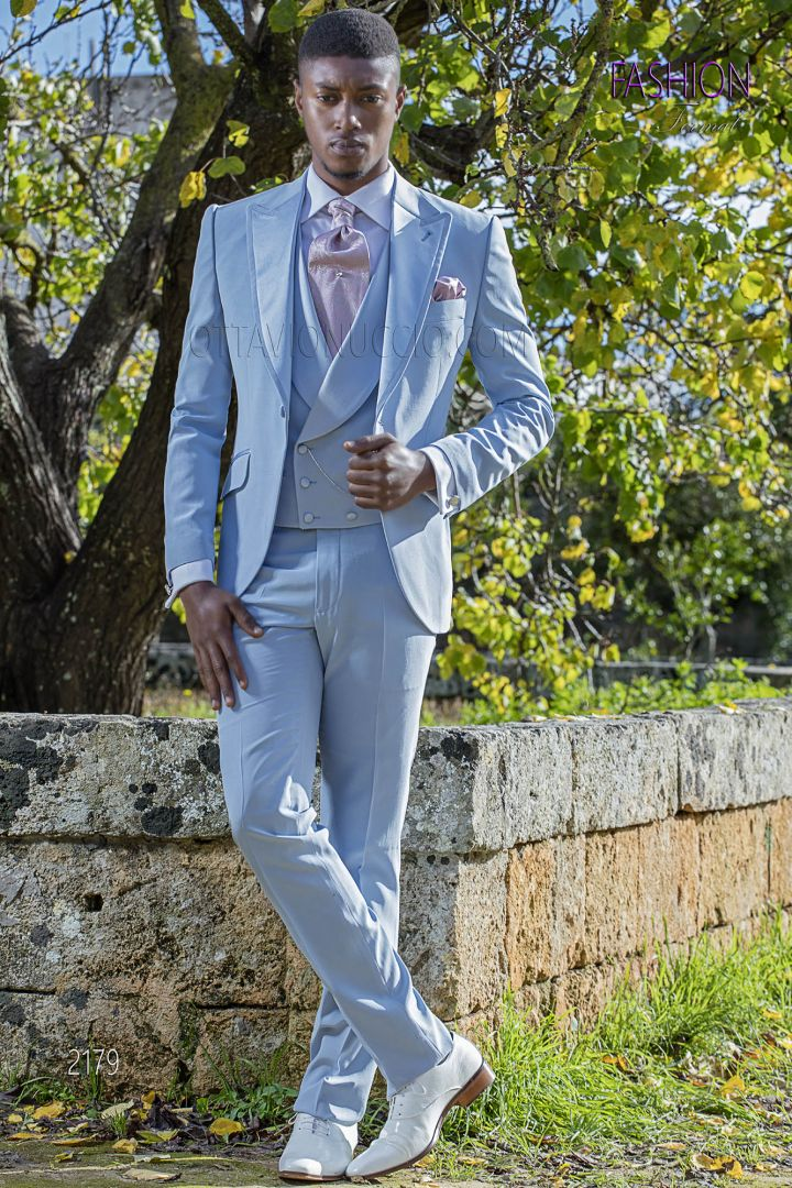 Italian morning suit in sky-blue with satin profile on the lapel