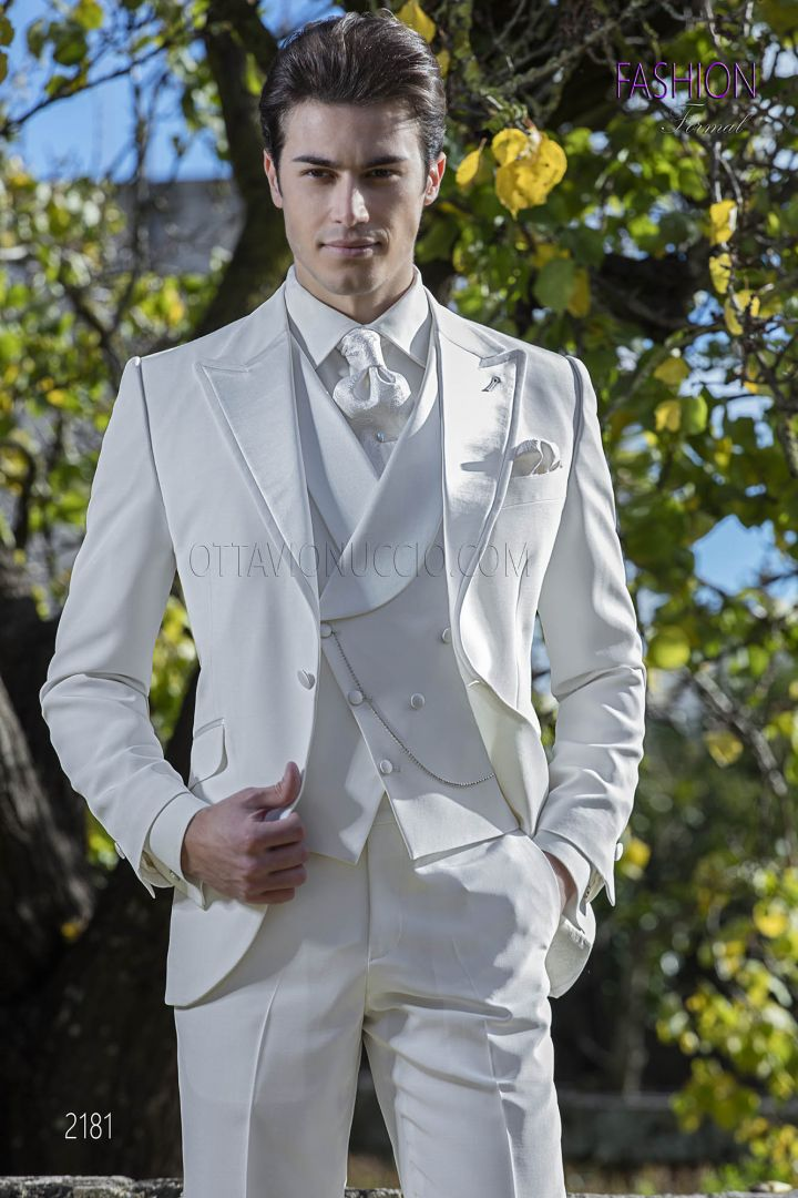 Italian frock coat suit for groom in ivory wool blend fabric