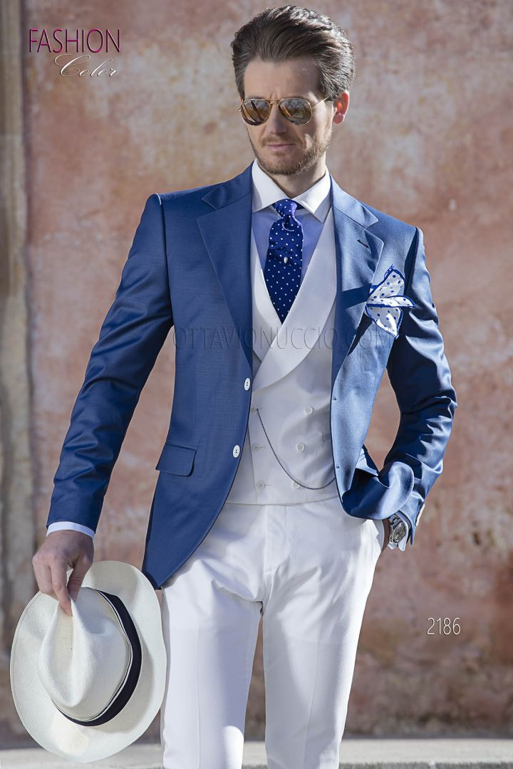 Italian blue spring morning suit with white vest  and pants