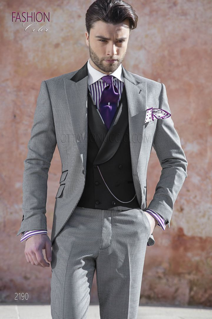 Italian spring groom suit in black-white hound's tooth fabric