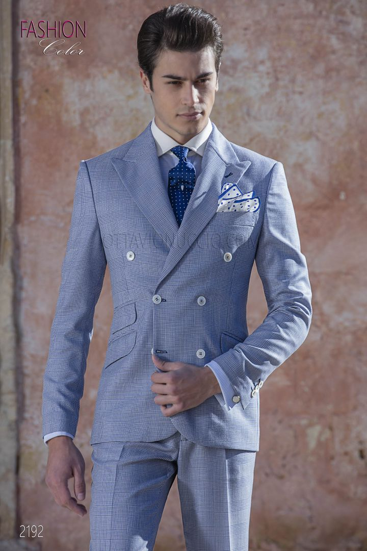 Blue Prince of Wales double breasted italian wedding suit