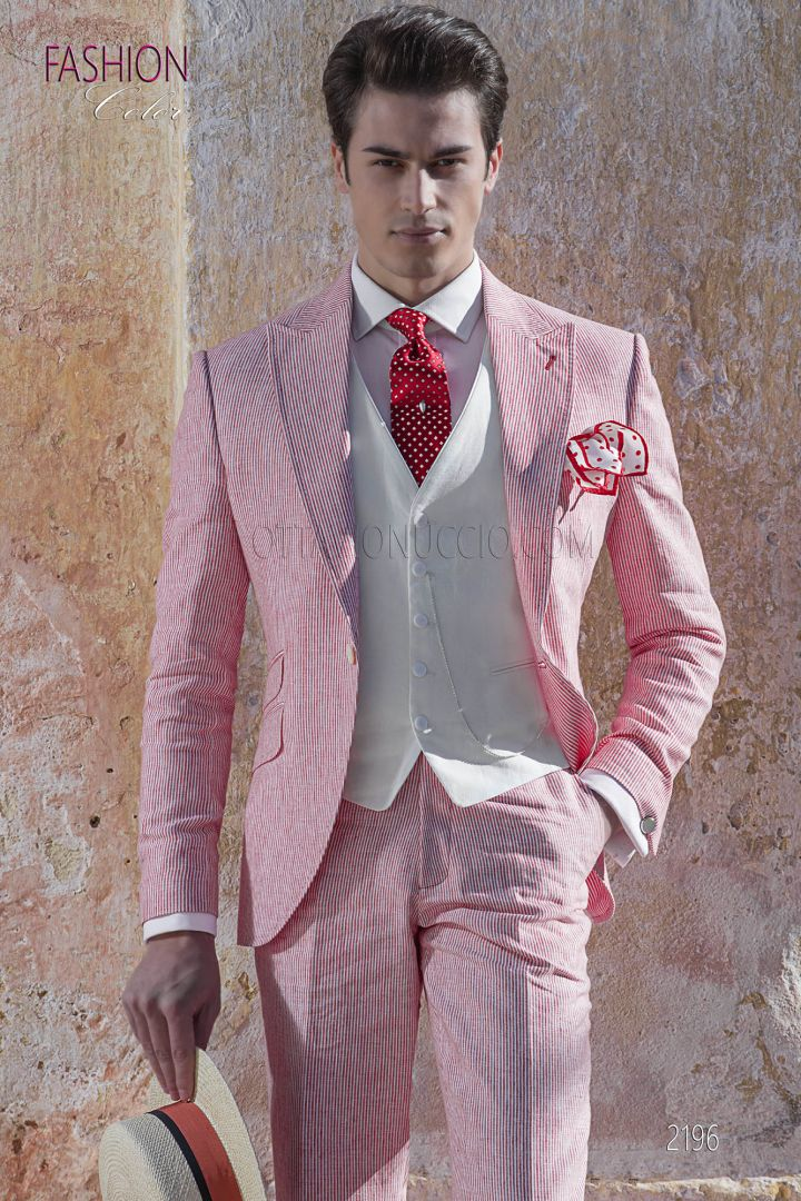Summer wedding groom fashion suit in red-white striped linen