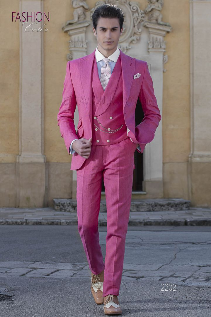Italian hippy suit in fuchsia linen for beach wedding