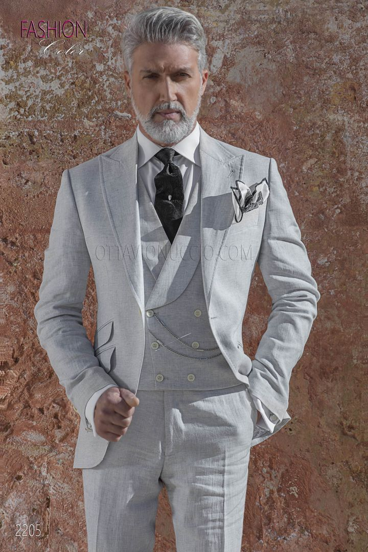 Pearl Grey bespoke italian men groom suit in linen fabric