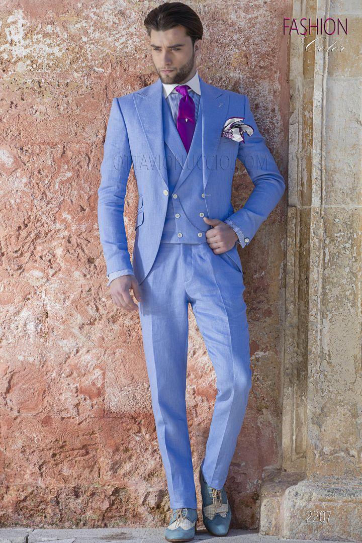 Light blue italian men suit in linen for spring summer wedding