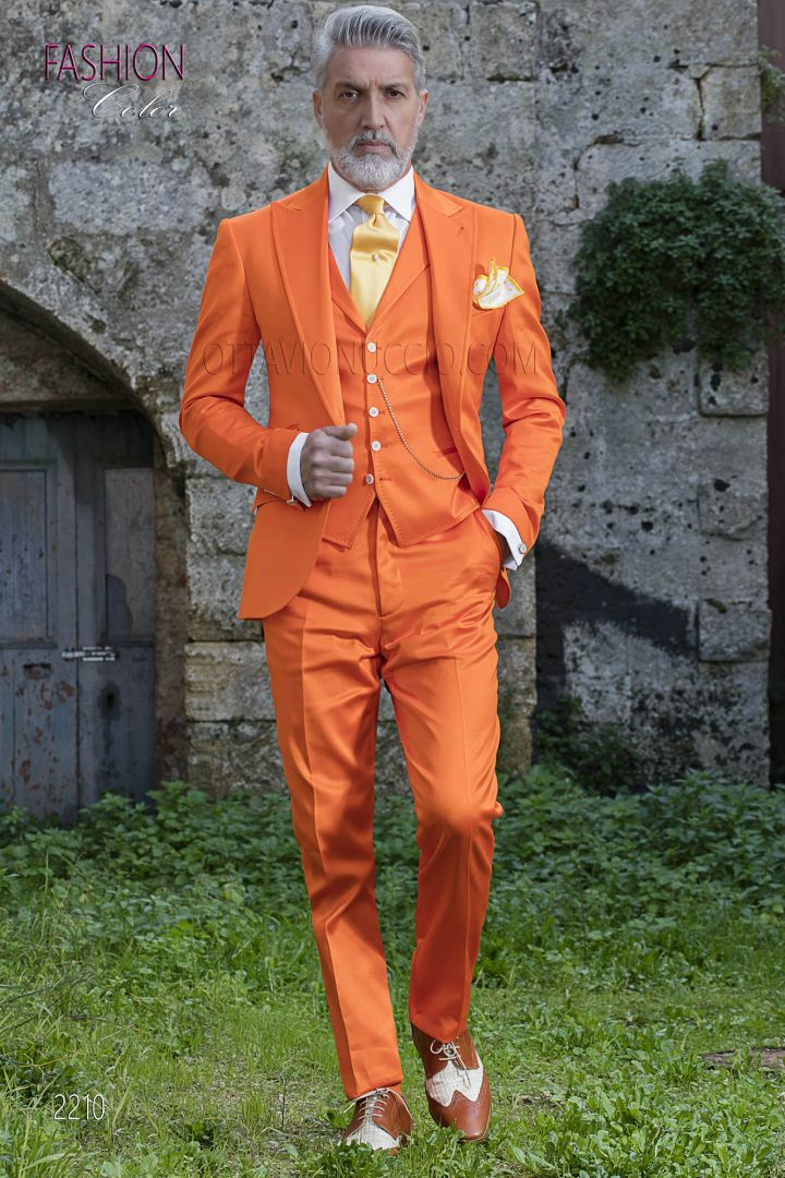 Italian fashion bespoke orange men suit for wedding groom