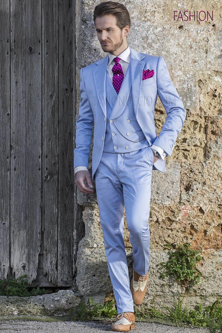Sky-blue cotton italian hipster suit for wedding