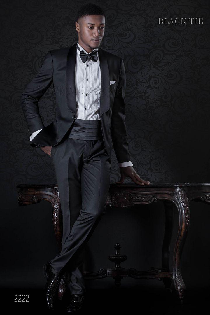 Smoking italien homme noir de cérémonie