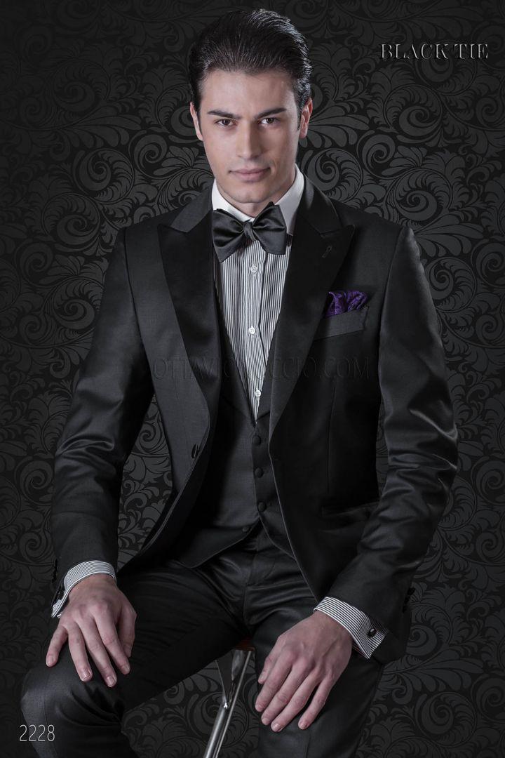 Tuxedo italien homme de mariage en laine noir