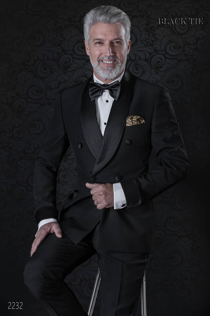 Italian double breasted tuxedo in black fabric with shawl collar