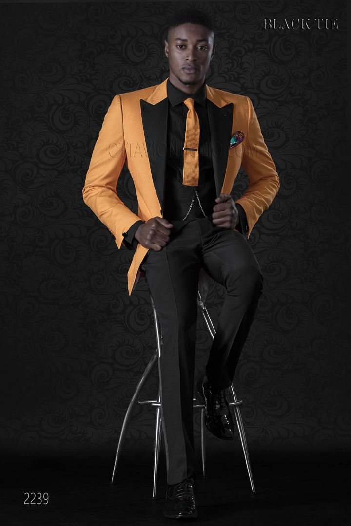 Smoking veste italien orange pour events de gala de homme