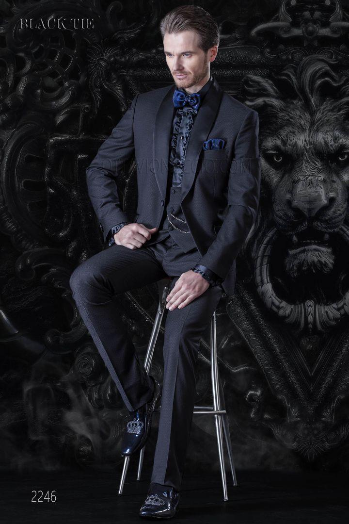 Smoking damassèe bleu pour homme de mariage
