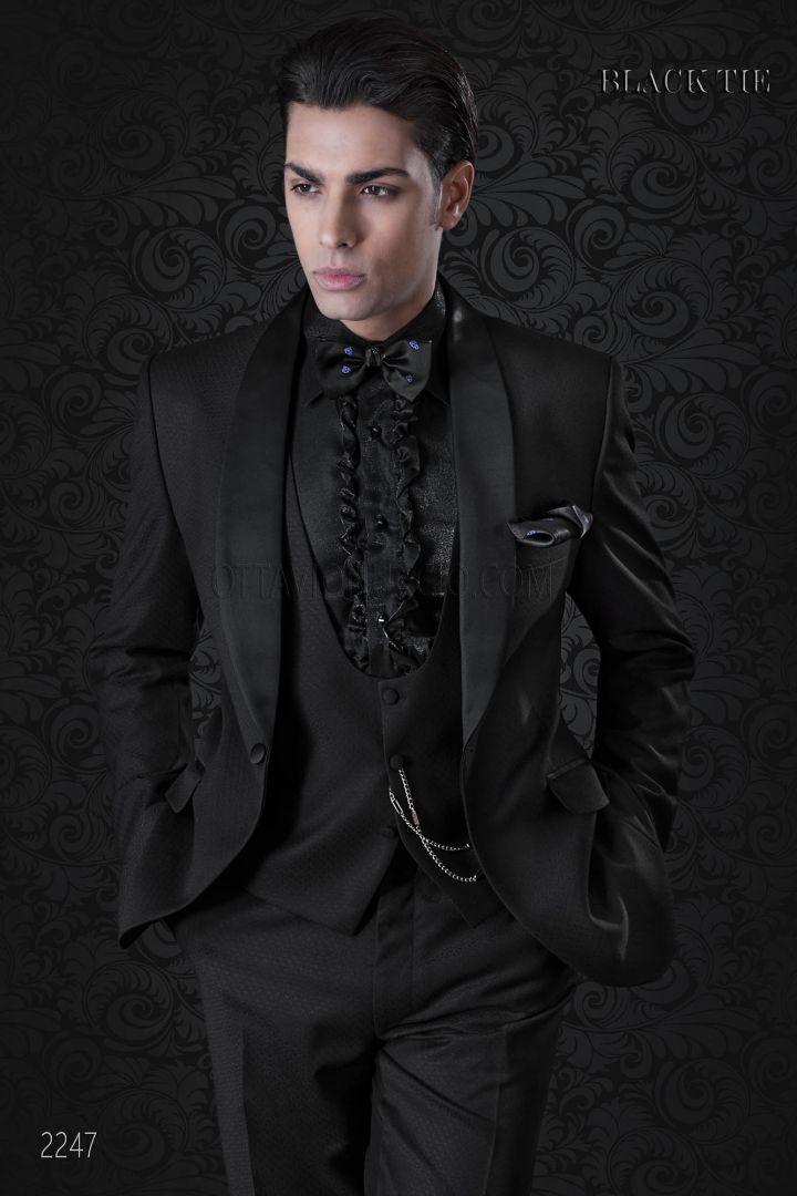 Tuxedo italien de marié noir pour homme moderne