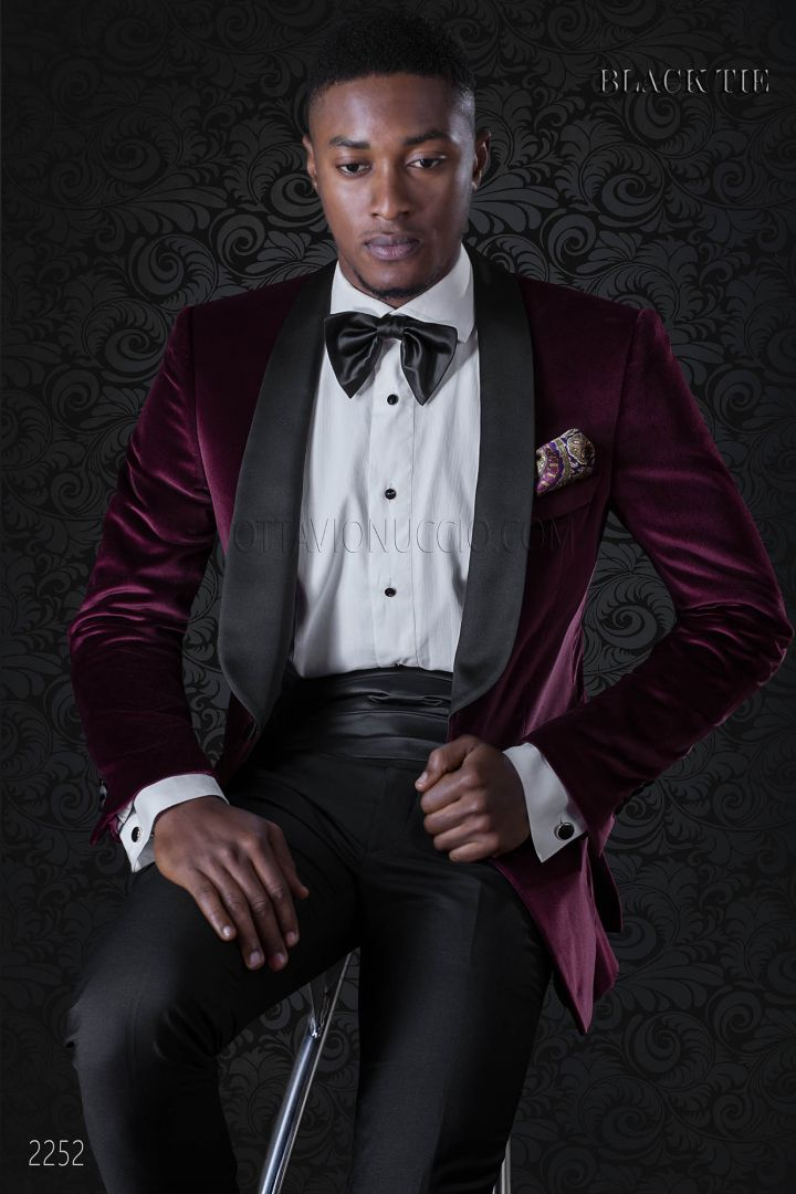 Red velvet pure cotton italian tuxedo jacket with black trousers