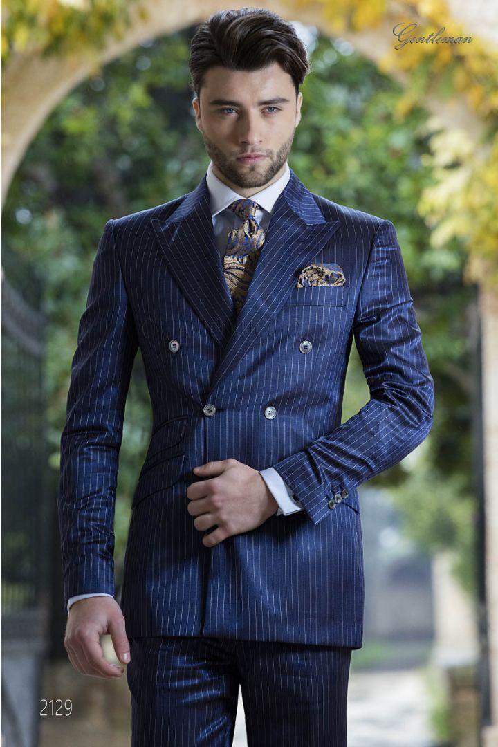 Abito fashion doppiopetto gessato blu royal da sposo