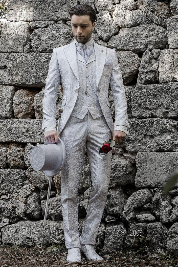 Luxury frock coat pearl grey brocade fabric with brooch fantasy