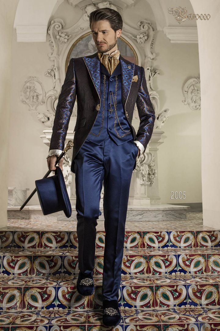 Blue and gold brocade luxury wedding suit for baroque groom
