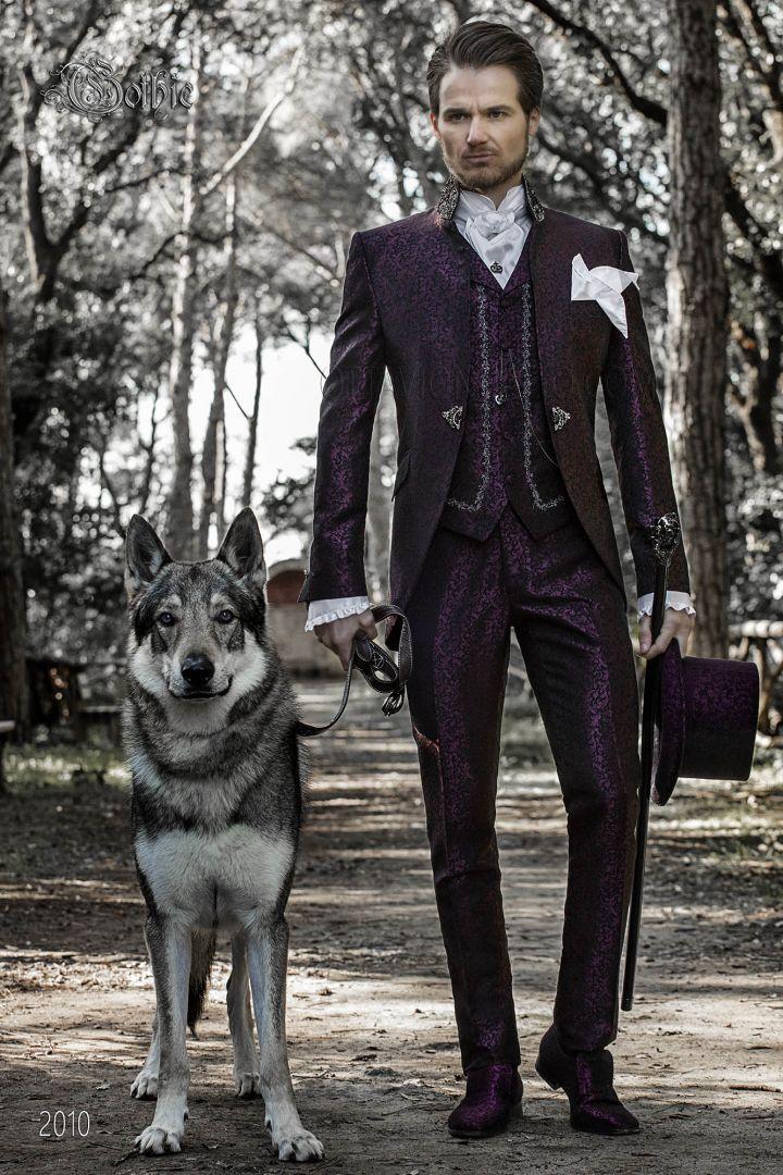 Purple vintage wedding frock coat with black rhinestone