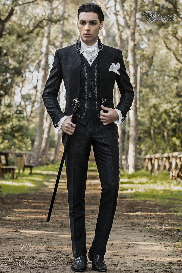 Italian baroque wedding suit in black brocade fabric