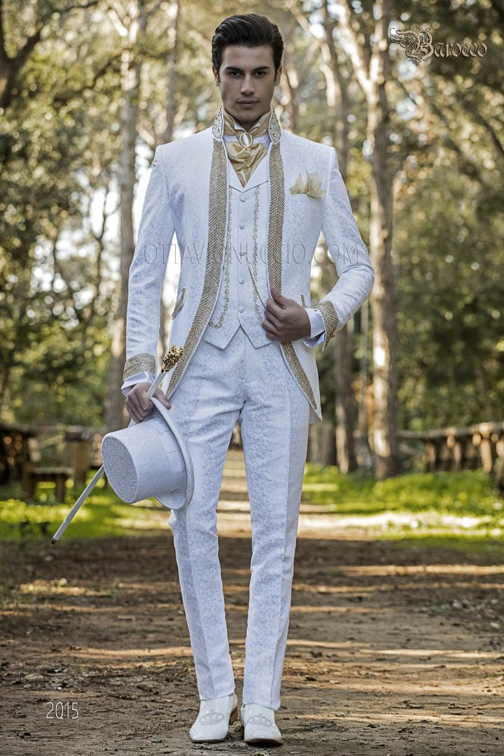 White luxury baroque style suit with bead trimming gold crystals