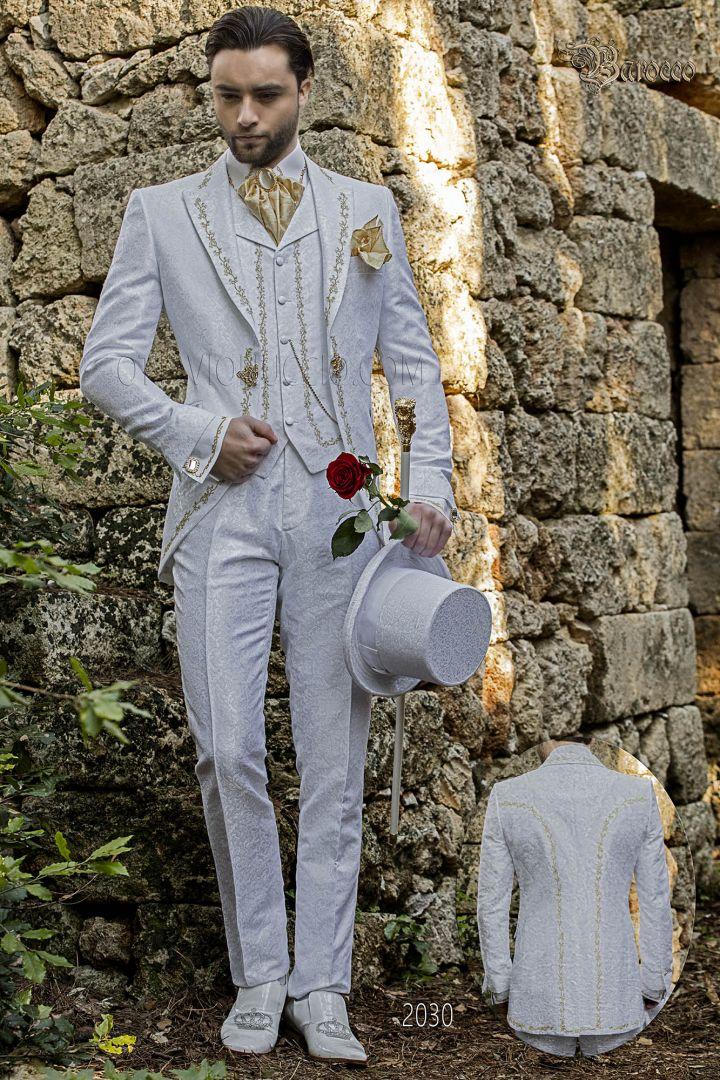 Abito lussuoso sposo damascato bianco ricamato oro