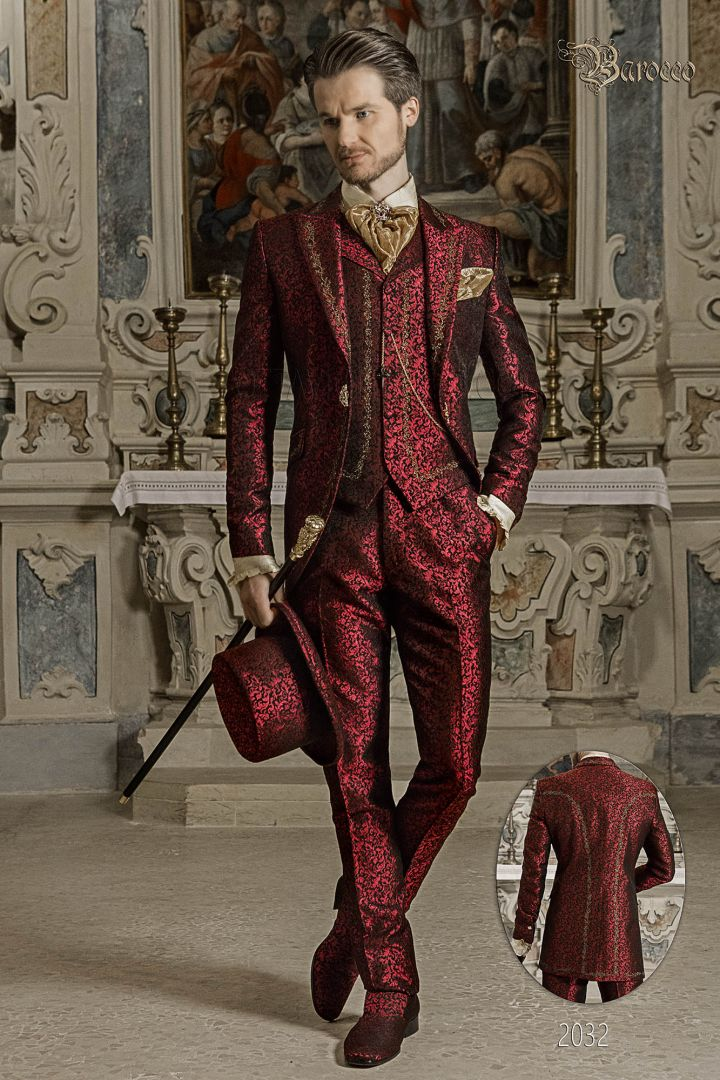 Baroque groom suit in red brocade fabric with gold embroidery