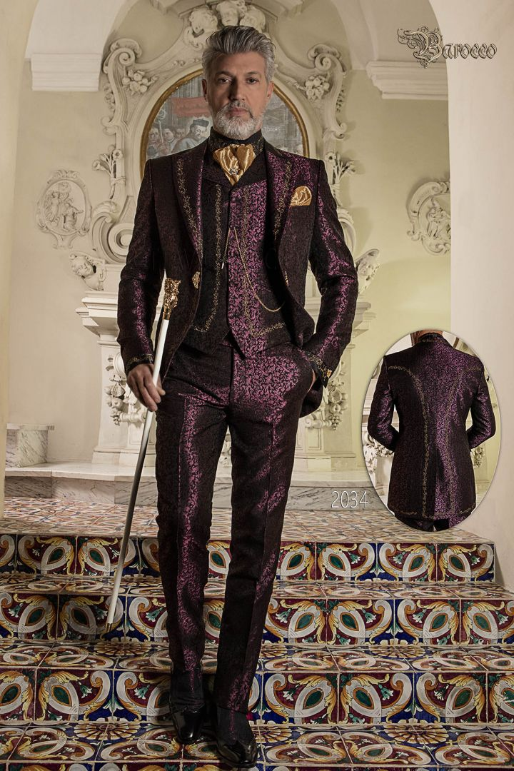 Luxury groom suit in purple brocade fabric with gold  embroidery