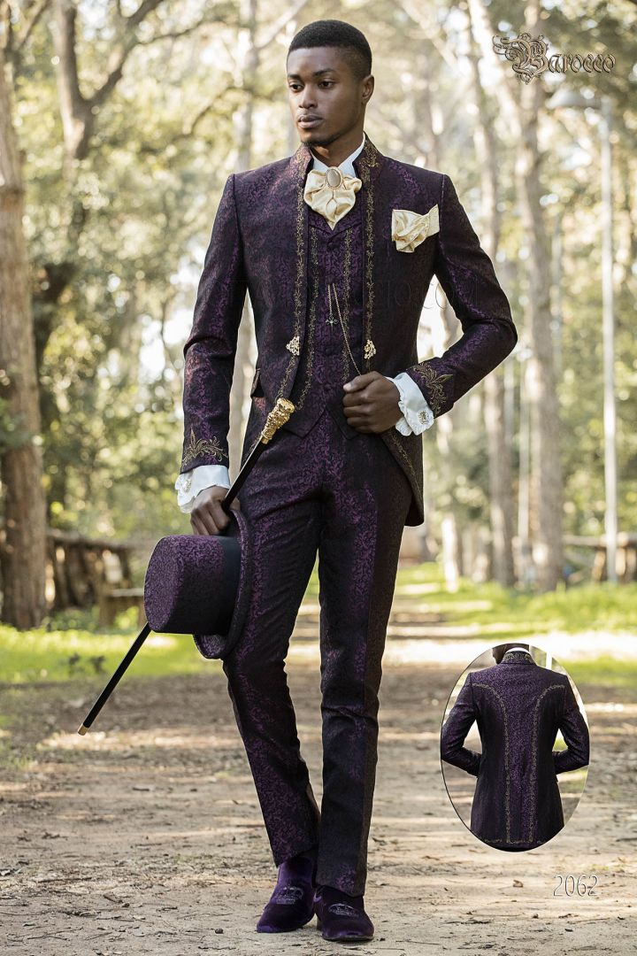 Gothic style purple frock coat with napoleon collar and golden embroidery