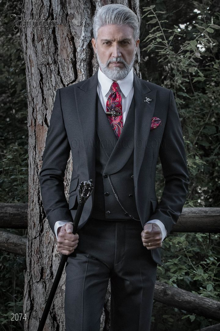 Costume mariage vintage noir homme
